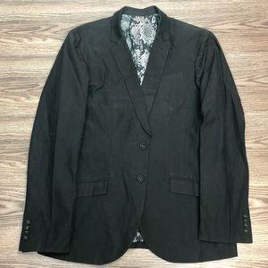 Armani Exchange Black Unstructured Cotton Blazer